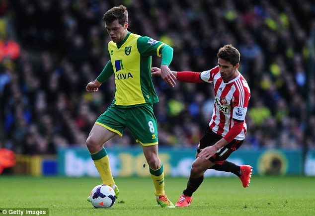 Chasing the game: Sunderland striker Fabio Borini (R) tries to get the ball off Norwich's Jonny Howson