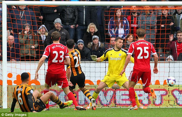 Back of the net: Long latched onto Ahmed ElMohamady's cross to double Hull's advantage at the KC Stadium