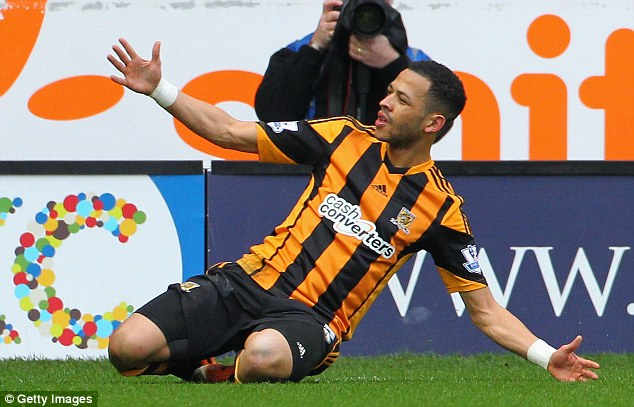 At last! Hull defender Liam Rosenior celebrates in style after scoring his first-ever Premier League goal
