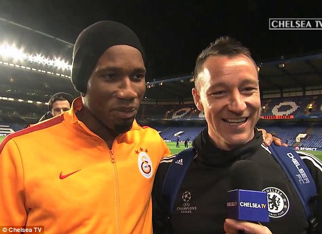 All smiles: Terry was pleased Drogba received such a good send off from the Chelsea faithful