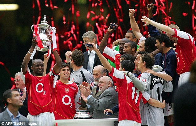 Drought: Vieira lifts the FA Cup in 2005, Arsenal's last major trophy