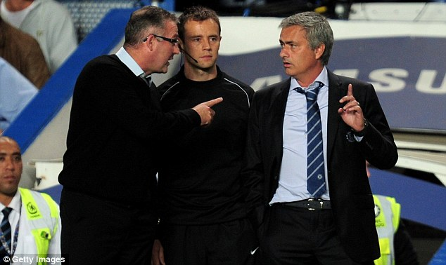 Heated moment: Paul Lambert and Jose Mourinho clashed during a heated match at Villa Park