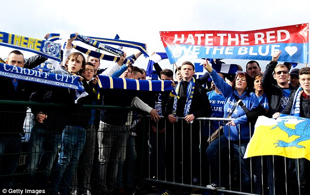 Angered: Around 3,000 supporters gathered outside the stadium to show their disapproval of the rebrand