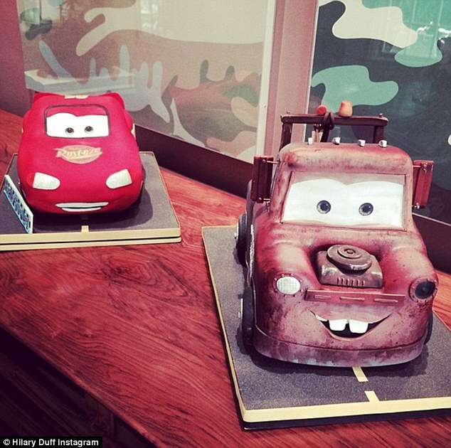 Double the yum: For his big day Luca was treated to not one but two birthday cakes in the shape of the character's from Cars
