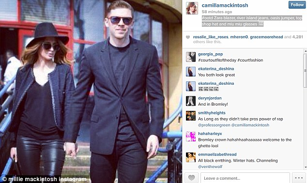 Bad taste: Millie  uploaded this picture of her outfit of the day - the image shows her and husband leaving court after he pleaded guilty to drink driving on Thursday