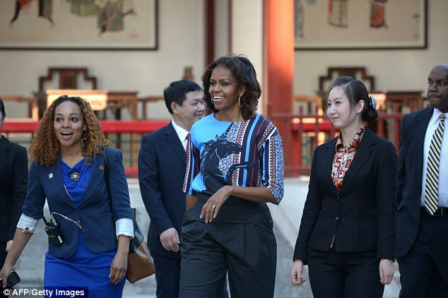 A welcomed visit: First Lady Michelle Obama toured the Summer Palace on Saturday (pictured), which marked the third day of her trip to China with her daughters and mother