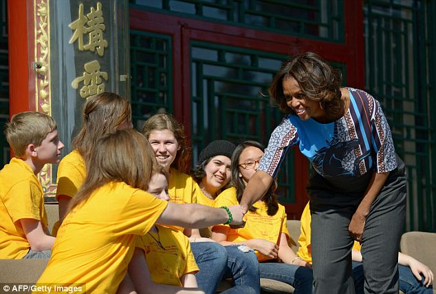 Far from home: She met with a group of American students who traveled to China on their spring break