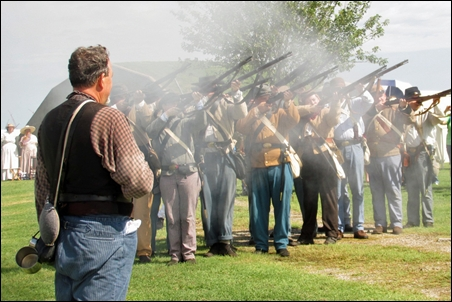 Reenactors Fire Volley at Sabine Pass