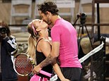 Loved up: Newlyweds Kaley Cuoco and her husband tennis pro Ryan Sweeting played a tennis match for charity in Calabasa, California, on Saturday