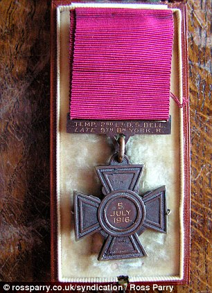 Valuable: Bell's VC was auctioned for £252,000