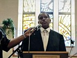 The orphan speaks before St Mark's Missionary Baptist Church to ask if someone would become his parents