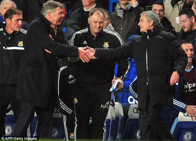 You've got to hand it to them: Sam Allardyce and Jose Mourinho after Chelsea were held by West Ham
