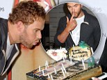 Happy birthday to ME! Kellan Lutz blows out candles on cake of himself as he continues celebrations a week after turning 29