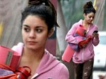 Staying fit: Vanessa Hudgens was seen once again toting her yoga mat to a class in Studio City in Los Angeles