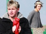 Up All Night... on Clevedon Pier! One Direction's Niall Horan clutches hot water bottle as he films in Somerset with Harry Styles and Liam Payne