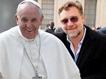 Third time's the charm: Russell Crowe finally meets with Pope Francis