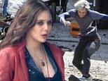Elizabeth Olsen is sultry as Scarlet Witch as she shoots explosive Avengers scenes alongside Aaron Taylor-Johnson's Quicksilver