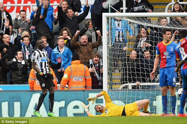 Finally: Palace keeper Julian Speroni was finally beaten after foiling United's attack throughout the game