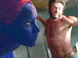 Hugh Jackman shows off bulging pecs and blue suited Jennifer Lawrence performs somersaults in new X Men: Days Of Future Past trailer