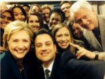 Trend: The Clintons and Jimmy Kimmel pose for a selfie, as they recreate the Oscar picture tweeted by Ellen