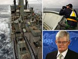 The HMAS success (left and top right) has returned from the search area after severe weather forced them to abandon their mission. Aviation safety consultant, Geoffrey Thomas (bottom right), says worse weather is on the way