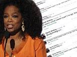 Talk show host Oprah Winfrey accidentally 'pocket tweeted' her fans a garbled message Sunday