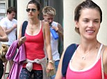 Must have been a good session! Alessandra Ambrosio grins despite being all sweaty after yoga class in Los Angeles