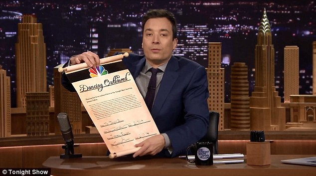 Perfect set-up: Presenting his guest Kevin Bacon Friday, Jimmy Fallon announced that dancing has been outlawed on the 'Tonight Show'
