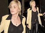Sharon Stone wears a sheer black top without a bra while out in Hollywood Sunday night