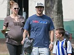 Ready to pop! Kevin Federline watches sons play soccer with his VERY pregnant wife Victoria Prince