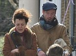Family business: Damian Lewis and wife Helen McCrory took a stroll around London with their children Manon and Gulliver, on Saturday
