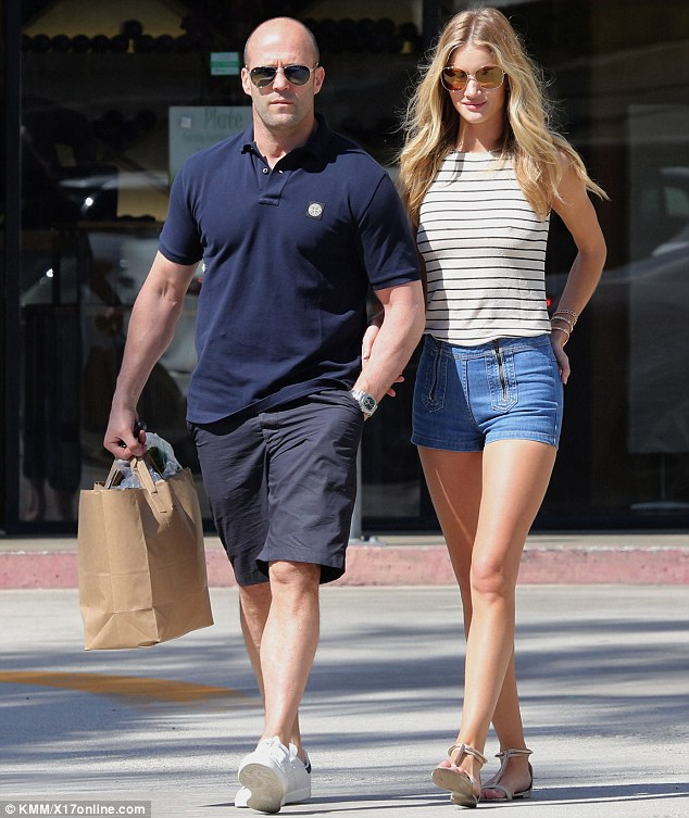 Brit invasion! Jason Statham and Rosie Huntington-Whiteley both donned shorts as they headed out in the scorching heat for a shopping trip in Malibu, California on Sunday
