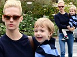 Like mother, like son! January Jones colour coordinates with son Xander as they load up on groceries
