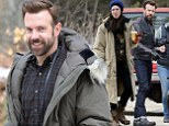 No first day nerves here! Jason Sudeikis hangs out with stunt double while Rebecca Hall sports heavy layers as filming kicks off on Tumbledown