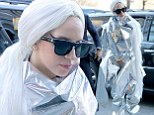 On another planet! Lady Gaga wraps herself in bizarre tin foil spacesuit for THIRD outfit change of the day