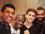 Party time: Paulinho, Ramires, Oscar, Sandro and Kia Joorabchian pose for a picture at the celebrations
