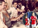 At least someone's smiling! Ozil, Bendtner and Sagna enjoy themselves on night out just hours after 6-0 Chelsea thrashing