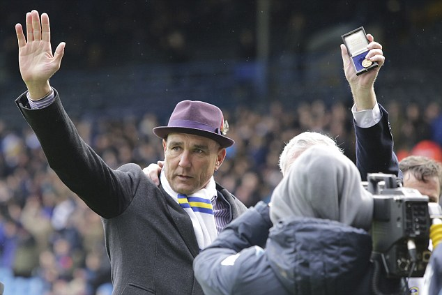Famous face: Former fans favourite Vinnie Jones was presented to the Leeds fan during half-time