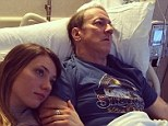 Surgery: Hall of Fame quarterback Jim Kelly, shown here in a picture tweeted by his daughter Erin, left, is scheduled to undergo surgery Thursday after his oral cancer returned