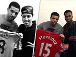 Getting shirty: Drake meets Premier League footballers Samir Nasri and Daniel Sturridge