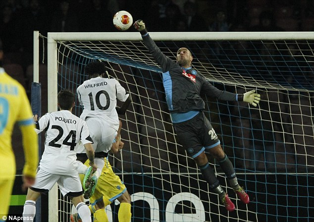 Flying high! The goalkeeper is currently on loan at Napoli, who knocked Swansea out of Europe