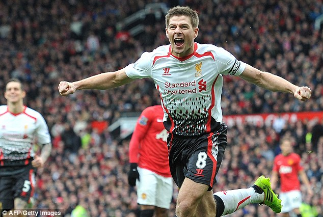 Derby delight: Gerrard has made a habit of scoring crucial goals away at Man United over the years