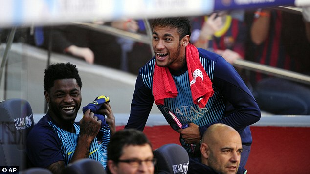 Prankster: Neymar enjoyed last week's 7-0 win against Osasuna despite being an unused substitute