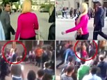 Shocking reaction to blonde woman caught on video as crowds of men swarm around her as she walks across Cairo university campus