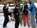 Skiing: Prince Harry, second right, pictured on the slopes at the Shymbulak resort in Kazakhstan