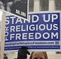 Demonstrators rallied in front of the Supreme Court in Washington as justices heard oral arguments in a case that pits religious freedom against the Obama administration's enforcement of the Affordable Care Act