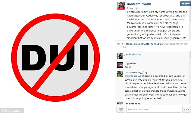 No DUI: Former NFL player Donte Stallworth marked the five-year anniversary of the horrific moment he fatally struck a pedestrian while drunk driving, with this Instagram post on Friday