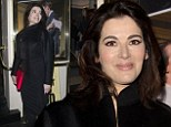 Plenty to smile about: Single lady Nigella Lawson enjoys a rare night out as she attends opening night of Fatal Attraction