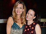 Friendly: Natascha McElhone (left) and Kristin Davis celebrate their opening night of Fatal Attraction at the Mint Leaf restaurant in London