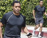 Cop in training: Chiwetel Ejiofor looks muscular whilst out for a run ahead of filming police drama Triple Nine